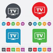 Widescreen TV sign icon. Television set symbol.