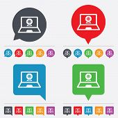 Video chat laptop sign icon. Webcam talk.
