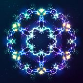 picture of cosmic  - Abstract cosmic fractal shining bright vector snowflake - JPG