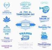 Set of Thanksgiving Day Labels. Holiday Designs. Modern Colors Variant.