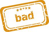 Bad Word On Rubber Grunge Stamp Isolated On White