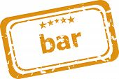 Bar Word On Rubber Grunge Stamp Isolated On White