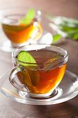 healthy herbal tea with sage leaf