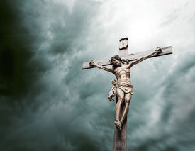 picture of crucifixion  - crucifixion of Christ monument surrounded by clouds - JPG