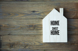 image of chalkboard  - House Shaped Chalkboard sign Home sweet Home on rustic wood - JPG