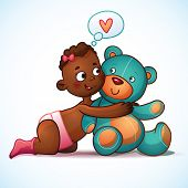 image of teddy  - African American girl hugs Teddy Bear toy on a white background - JPG
