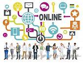 image of social system  - Global Online Communication Social Networking Technology Concept - JPG