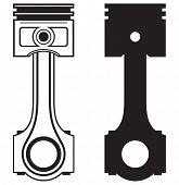 stock photo of piston-rod  - Single Engine piston isolated on white background - JPG