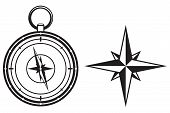 stock photo of compass rose  - Black wind rose and compass isolated on white background - JPG