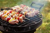 picture of grill  - Grilling shashlik on barbecue grill - JPG
