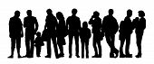picture of ordinary woman  - black silhouette of a large group of people with children standing outdoor in different postures - JPG