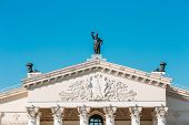foto of drama  - Architectural Elements And Details Of Building Gomel Regional Drama Theatre On The Main Square Of Lenin - JPG