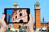 Tourist Photographs Of Placa Espanya, Barcelona poster