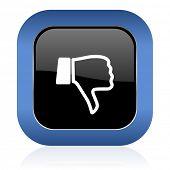 picture of dislike  - dislike square glossy icon thumb down sign - JPG