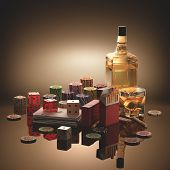 foto of addiction to smoking  - Objects concepts of gambling addiction drinking and smoking - JPG