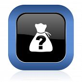 stock photo of riddles  - riddle square glossy icon   - JPG
