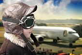 pic of bomber jacket  - Boy dressed up in pilot - JPG