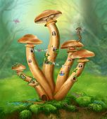 picture of agar  - Fantasy Mushrooms honey agarics the house on a colorful meadow - JPG
