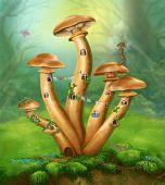 image of agar  - Fantasy Mushrooms honey agarics the house on a colorful meadow - JPG