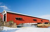 pic of covered bridge  - The Bridgeton Covered Bridge adorned here with a Christmas wreath crosses Big Raccoon Creek in Park County Indiana - JPG