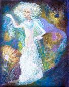 stock photo of spirit  - White fairy woman spirit in bright dress on abstract colorful magical background detailed multicolor painting abstract pattern - JPG