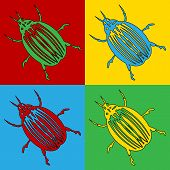 stock photo of potato bug  - Pop art bug symbol icons - JPG