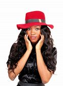 foto of woman red blouse  - A lovely African American woman in a black blouse and long black curly