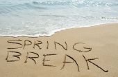 picture of spring break  - the text spring break written in the sand of a beach - JPG