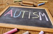 foto of neurology  - the word autism written with chalk of different colors in a chalkboard placed on a rustic wooden desk or table - JPG
