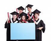 image of white gown  - group of happy graduates student show blank billboard isolated on white background asian - JPG