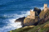 stock photo of mines  - Historic cliff mine engine houses at Bottallack - JPG