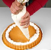 picture of whip-hand  - Detail of a pastry cook decorating a cake with piping bag - JPG
