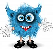 image of monsters  - illustration fairy shaggy blue monster with blue eyes - JPG