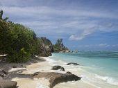 stock photo of deserted island  - deserted beach La Digue island Seychelles Africa - JPG