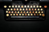 stock photo of qwerty  - Color detail of the keyboard of an old typewriter - JPG