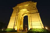 stock photo of india gate  - India Gate with lights at night New Delhi India - JPG