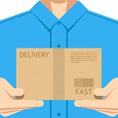 image of packages  - Delivery courier postal man delivering package design background concept vector illustration - JPG