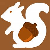 foto of acorn  - Vector illustration of aquirrel with acorn on brown background - JPG
