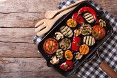 foto of grill  - grilled vegetables in a pan grill - JPG