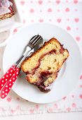 picture of pound cake  - Berry swirl pound cake with vanilla glaze - JPG