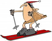 picture of ski boots  - This illustration depicts a caveman on skis with a pole in each hand - JPG