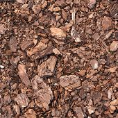 foto of fragmentation  - Earth ground covered with compost mulch fragment as a texture background