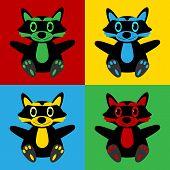 picture of raccoon  - Pop art raccoon symbol icons - JPG