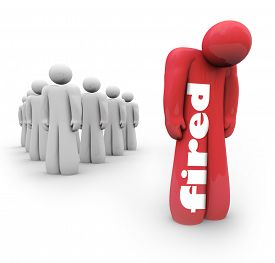 pic of unemployed people  - Fired word on a red 3d person who is laid or cast off from business - JPG