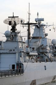 pic of battleship  - Turkish Military Battleship docking in Istanbul Harbor - JPG