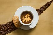 picture of continent  - Still life photography of hot coffee beverage with map of Europe continent - JPG