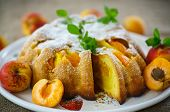 pic of sponge-cake  - Sponge cake with apricot and powdered sugar - JPG