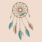stock photo of dreamcatcher  - Beautiful indian dreamcatcher with feathers and beads - JPG