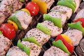 picture of braai  - Assorted Roasted Meat with Vegetable On The Hot Barbecue Charcoal Grill - JPG