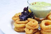 pic of souse  - Fried onion rings with green souse on plate - JPG